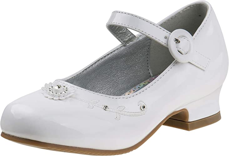 Girls Ladies White Patent Look Pump Shoes with Bow Detail