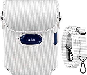 Katia Case for Fujifilm Instax Mini Link Smartphone Printer, Polaroid Film Storage Bag with Shoulder Strap - Ash White