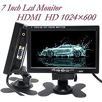 Padarsey 7 Inch Monitor HDMI - 1024x600 HD TFT LCD Screen Display AV VGA Input Built in Speaker for Raspberry Pi 3 Model…