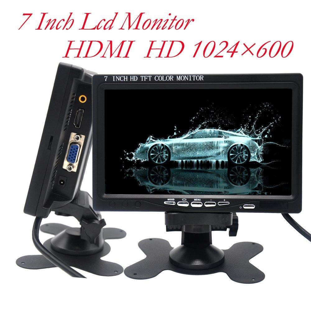 Padarsey 7 inch Monitor HDMI - 1024x600 HD TFT LCD Screen Display AV VGA Input Built in Speaker Raspberry Pi 3 Model B+ 3B CCTV Computer PC DVR Car