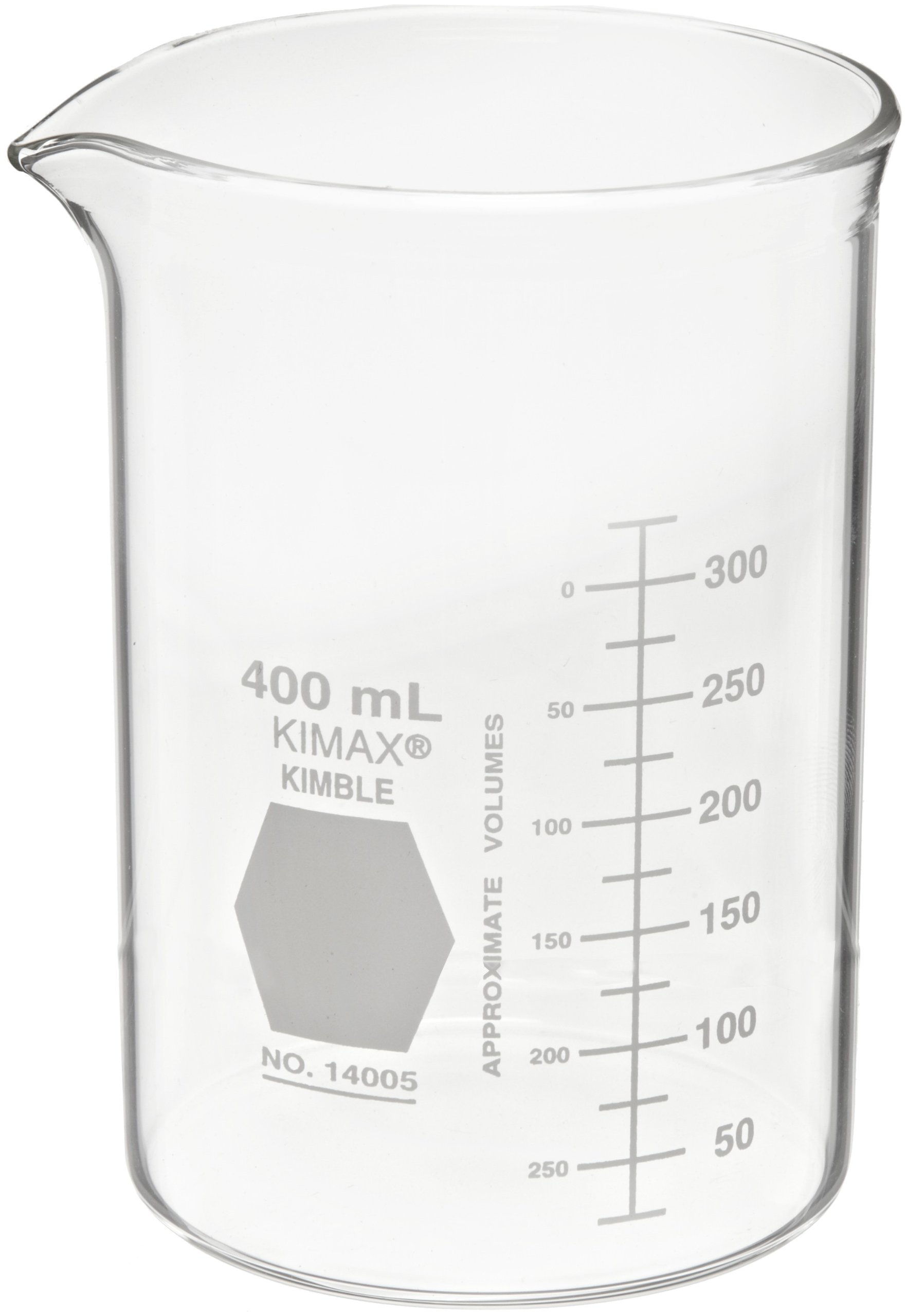 Kimax 14005-400 Glass Heavy-Duty Low Form Beaker with Double Capacity Scale, 25-325mL Graduation Interval, 400mL Capacity, 25mL Graduation, White (Pack of 12)