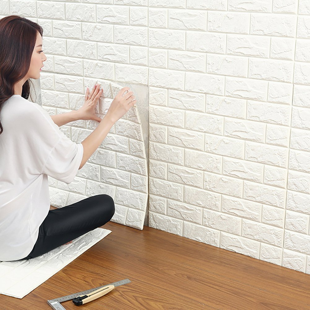 20 Pcs 3D Brick Wall Stickers, White Brick Wallpaper, Waterproof Soundproof Self Adhesive Wall Stickers Wallpaper for Bedroom Living Room Background TV Decor 6060cm by YTAT