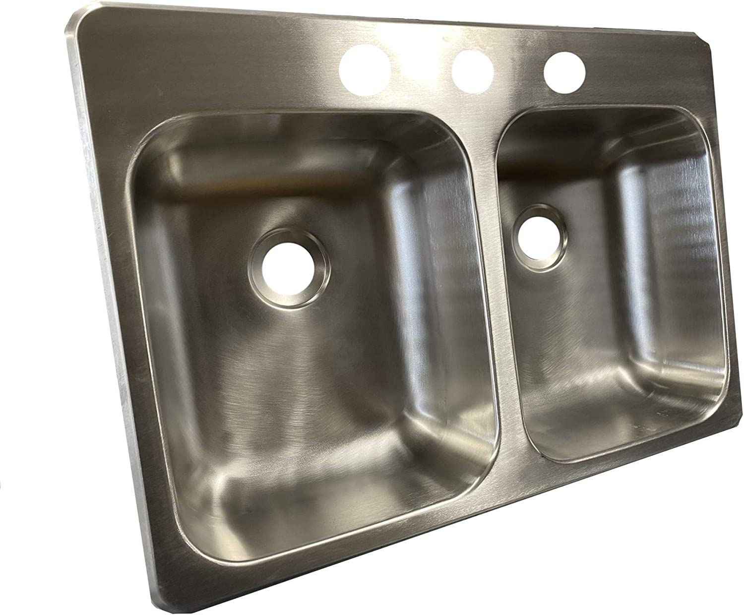 25 X 17 X 5 Stainless Steel Double Bowl Sink 300 Series Stainless Steel Class A Customs RV Camper Motor Home Sink Concession Sink