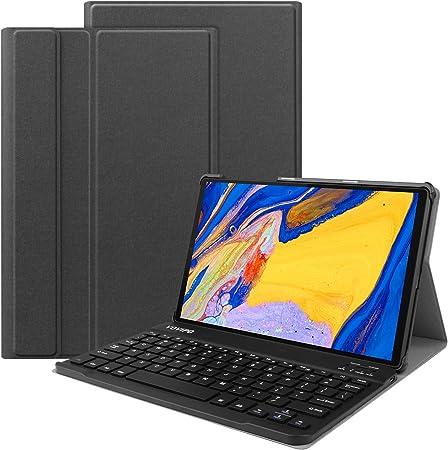 VOVIPO - Funda de teclado para Lenovo Tab M10 Plus (disposición del Reino Unido), funda delgada de poliuretano con teclado inalámbrico extraíble para ...