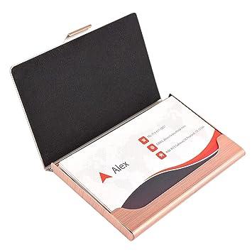 Maxgear Pocket Business Card Holder Case Slim Metal Name Card Case Holder Stainless Steel Card Holder Rose Gold