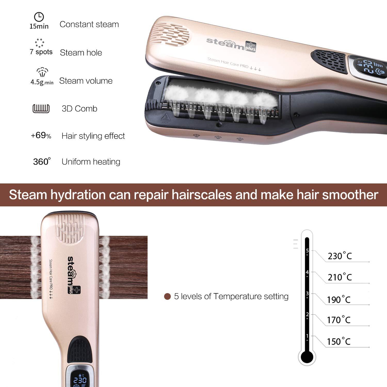 Bebgo - Vaporizador profesional para alisar el cabello con 5 agujeros en spray, función anticalza, bloqueo de temperatura automático y función de apagado ...