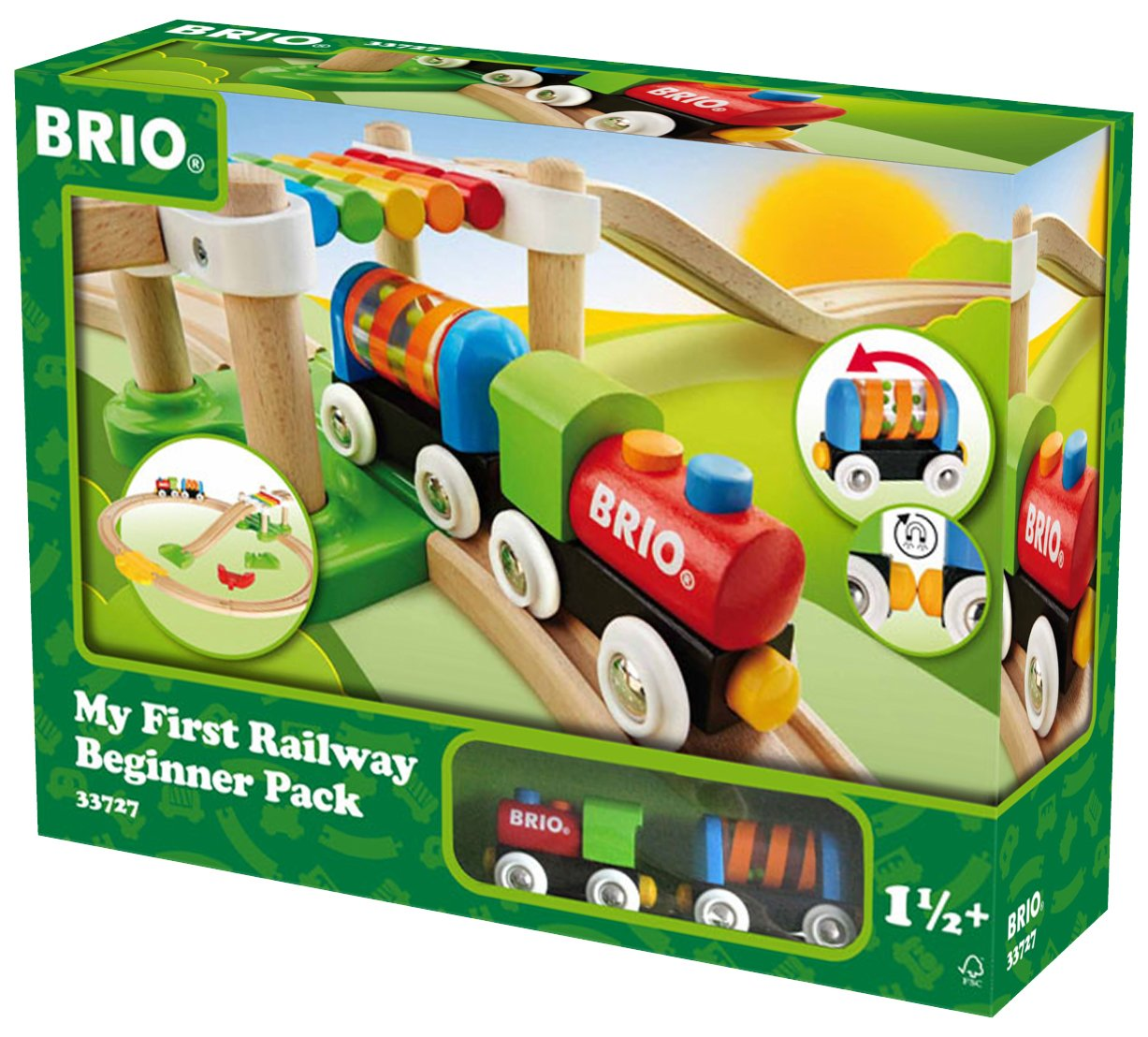 Brio My First Railway Beginner Pack Wooden Toy Train Set Made with European Beech Wood and Works with All Wooden Railway Sets