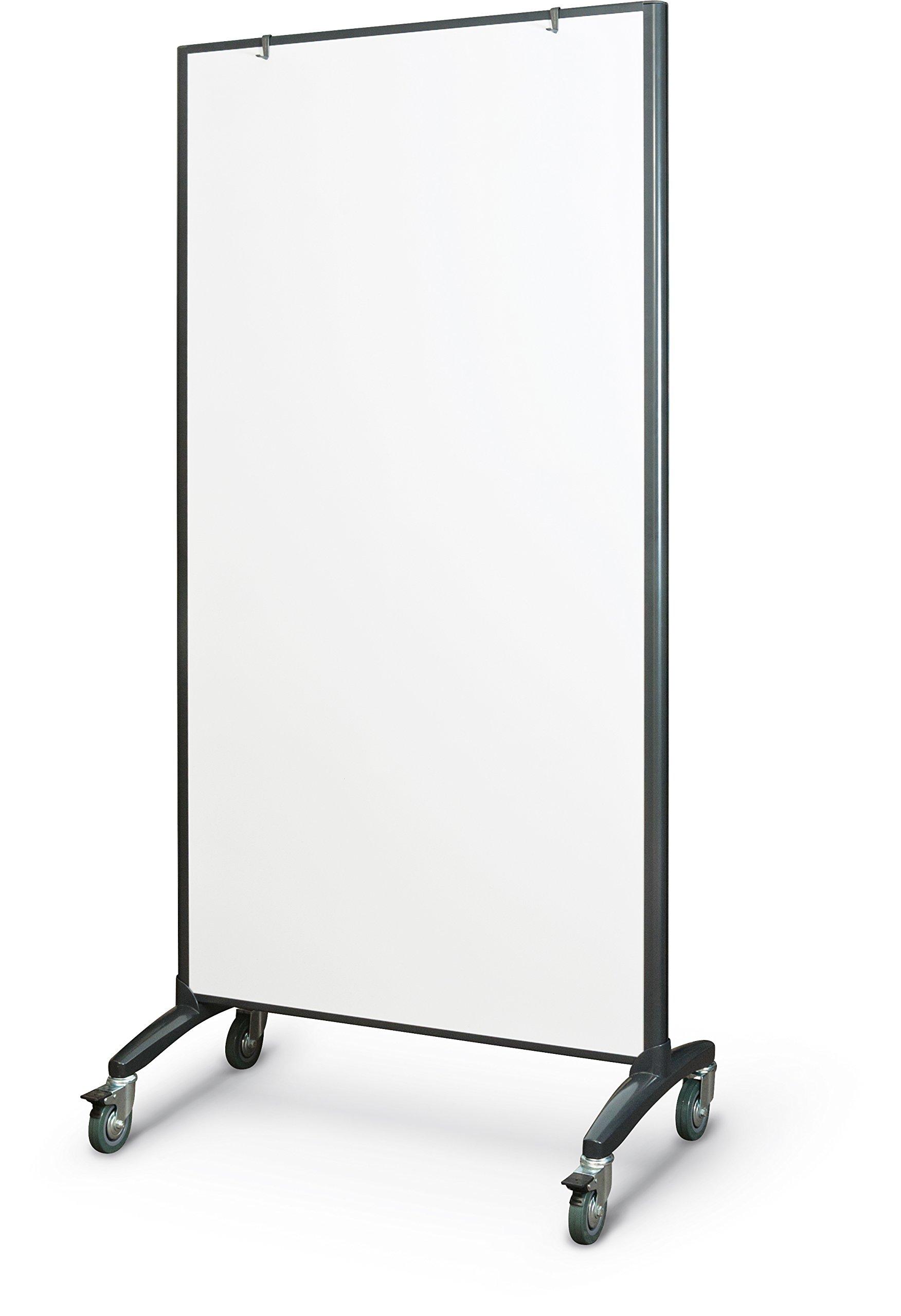 Trek Mobile Double Sided Dry Erase Whiteboard Easel Room Divider, 65''H x 34.75''W, Black Frame (62406)