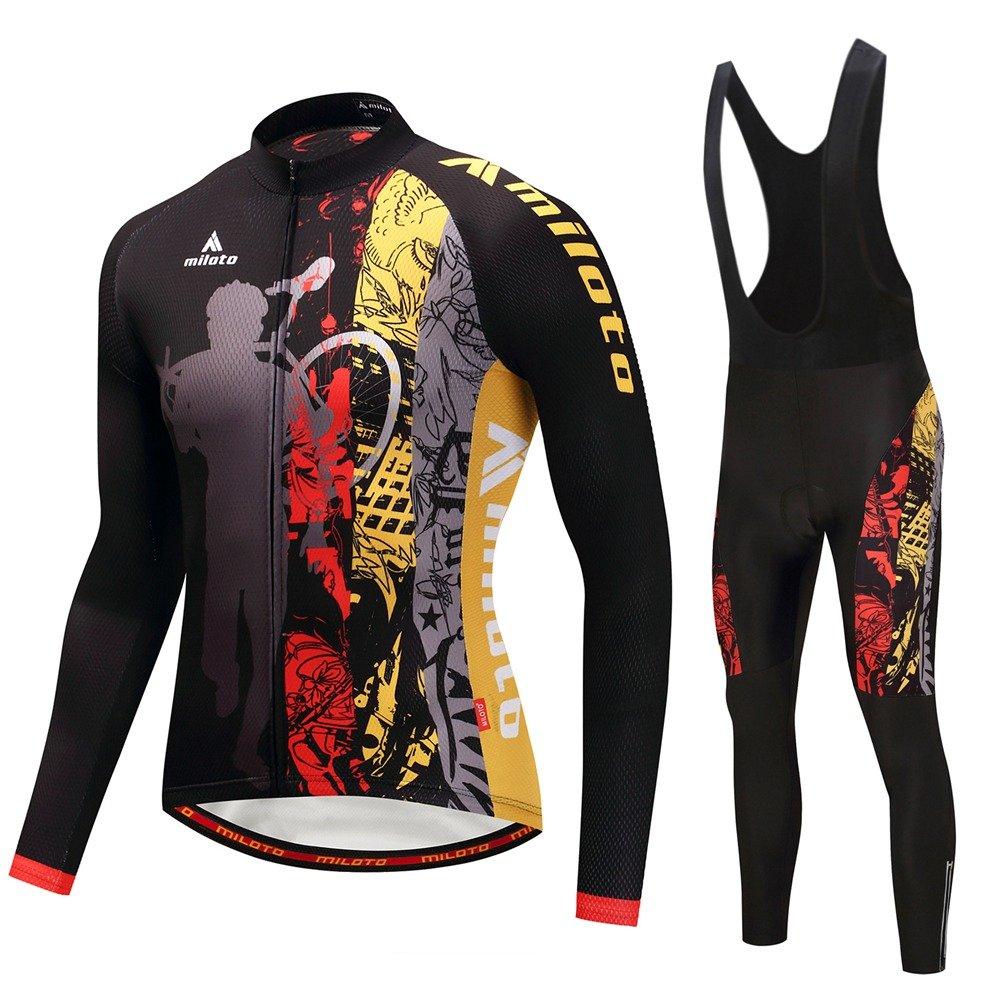 Uriah Men's Cycling Jersey Bib Pants Black Sets Long Sleeve Reflective Miloto