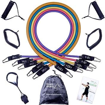 Ryher Empresa española Fabricante de Gomas elasticas musculacion - Kit de Cuerdas elasticas de Fitness con 5 Bandas Resistencia -Elasticos Fitness ...