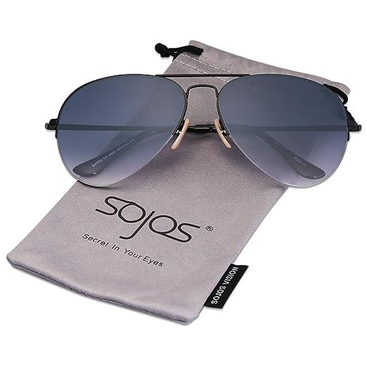 56ac0540f5 SOJOS Classic Aviator Mens Womens Sunglasses Metal Half Rim Mirrored Lens  INSPIRATION SJ1106 with Black Frame
