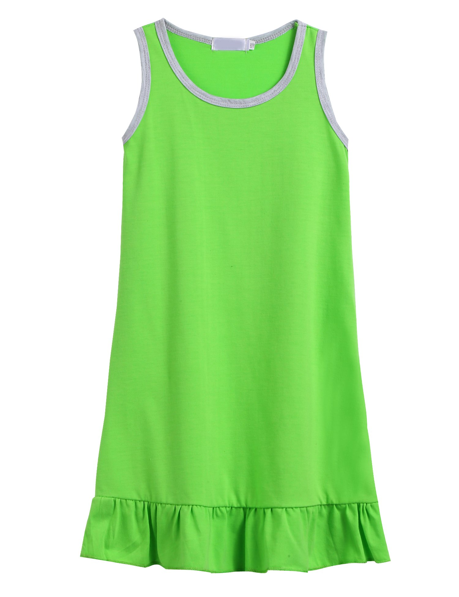 Balasha Girls Sleeveless Tank Pleated Solid Color Summer Dress, Pale Green, 120(Age for 6-7 years)