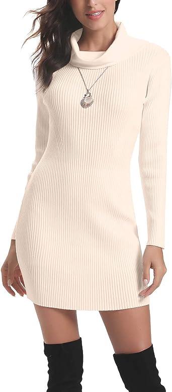 Oferta amazon: Aibrou Vestido a Punto Cuello Alto para Mujer,Vestido de Jerséy Elegante Clásico Ajustado,Sexy Sueter Falda de Cadera,Primavera, Otoño, Invierno Talla S