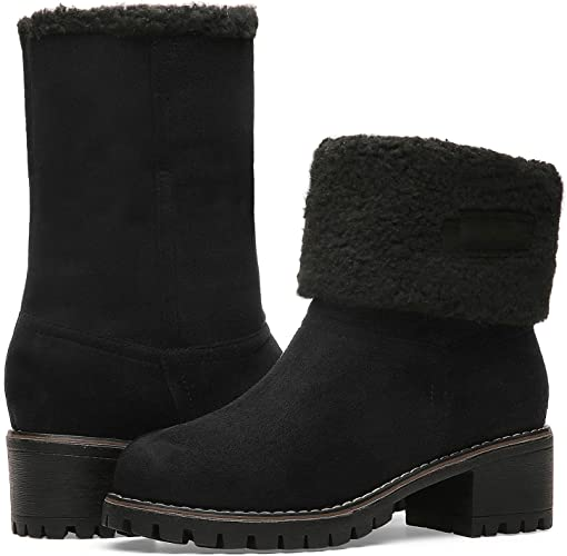 Winter Boots for Women Stylish Fold Suede Chunky Mid Heel Round Toe Short Snow Ankle Boots 19NXEA01-W2-9