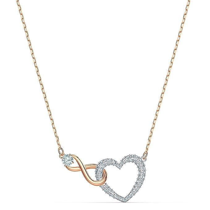 Swarovski Collar Infinity Heart, Blanco, combinación de Acabados metálicos
