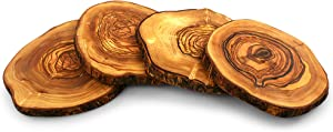 Tramanto Olive Wood Slices 4 Pack, Tree Bark Wooden Plates and Coaster