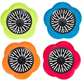 Sandy Lilly 4-Pack Kitchen Sink Basket Strainer Drain Filter Stopper | Commercial Grade Flower Petals | Fits Most Kitchen (3-1/2 Inch) Sinks