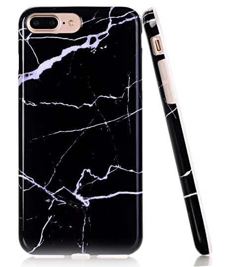timeless design 15752 316c1 BAISRKE iPhone 8 Plus Case, Black White Marble Design Glossy Flexible Soft  Silicone Bumper Shockproof Cover for Apple iPhone 8 Plus & iPhone 7 Plus ...