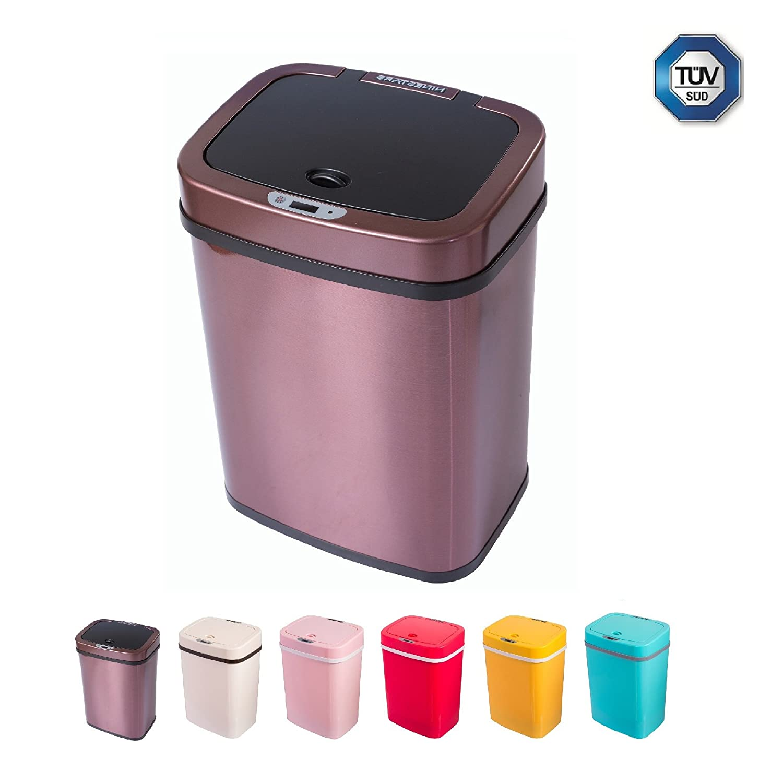 Sensor Mülleimer 12 Liter Automatik Abfalleimer bunt Push Kücheneimer umweltfreundlich Küche Bad Wohnzimmer (12 L, Edelstahl Schwarzbraun)