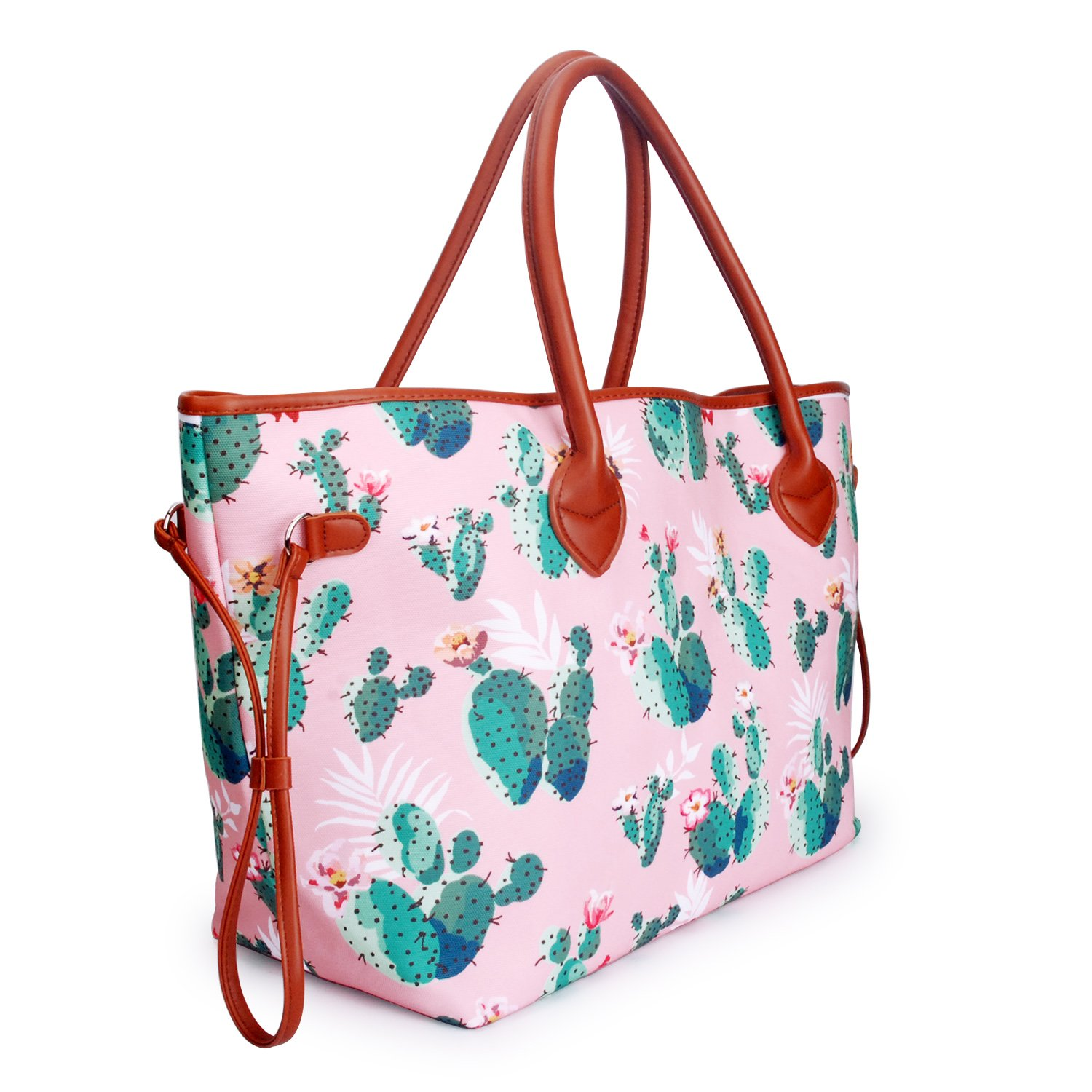 c50859cff9 Amazon.com  Canvas beach bag Casual Tote Bag with PU piping and handles  (cactus)  Shoes