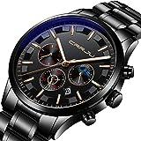 Casual Hombres Relojes de Cuarzo analógicos Cronógrafo Deportivo Reloj de Pulsera de Acero Inoxidable Impermeable para Hombres Vestido de Negocios Día 12/24 Horas Reloj