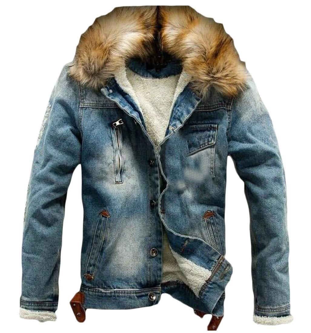 0ea9e1e35cb32 CANTIP Los Hombres de Piel con Capucha Espesar Plus tamaño botón Faux Denim  Trucker Jacket