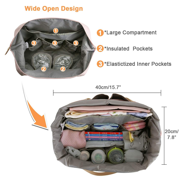 mommore Wickeltasche Gro/ße mit Wickelunterlage Baby Reisetasche Babytasche Handgep/äck mit Verstellbarem Schultergurt
