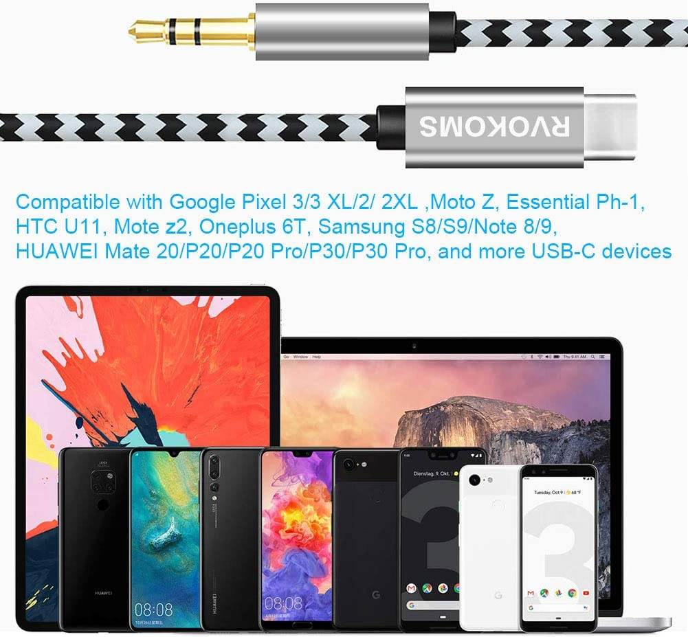 3-in-1 Aux Cord for Google Pixel 2 Samsung Headphone Cord for Pixel 2XL//3//3XL Nexus Huawei Moto Z2 Type-c aux White RVOKOMS USB-C to 3.5 mm Headphone Jack Adapter with Hi-res//DAC