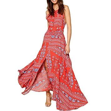 JUWOJIA Fuera Del Hombro Rojo Vestidos Boho Estampados Florales Mujer Playa De Verano De Split Sin