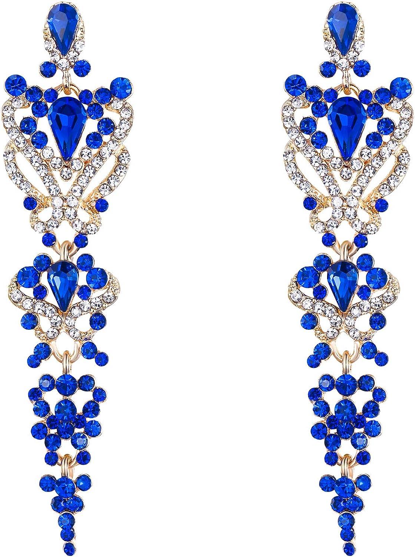 EVER FAITH Pendientes Mujer Perla Forma de Corazón Lágrima Agua gota Rhinestone Colgantes Aretes Elegante para Regalo Novia Boda Fiesta Azul Tono Dorado