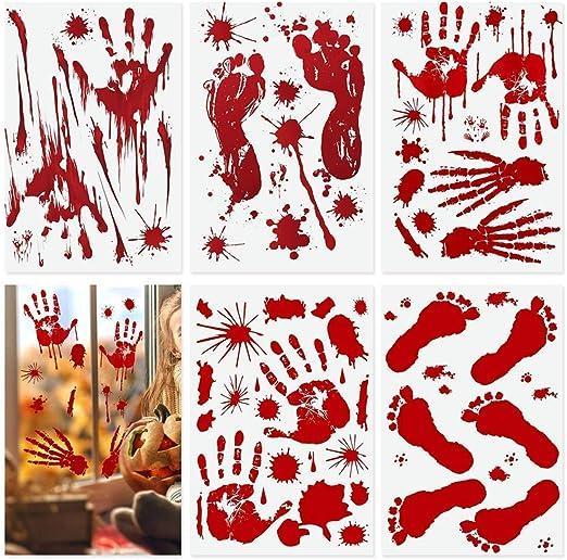 BUZIFU 10 Hojas de Pegatinas de Terror de Halloween Huella de ...