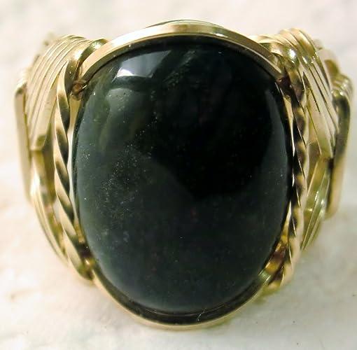 Amazon com: Bloodstone Gemstone Ring Mens Ladies Unisex 14k