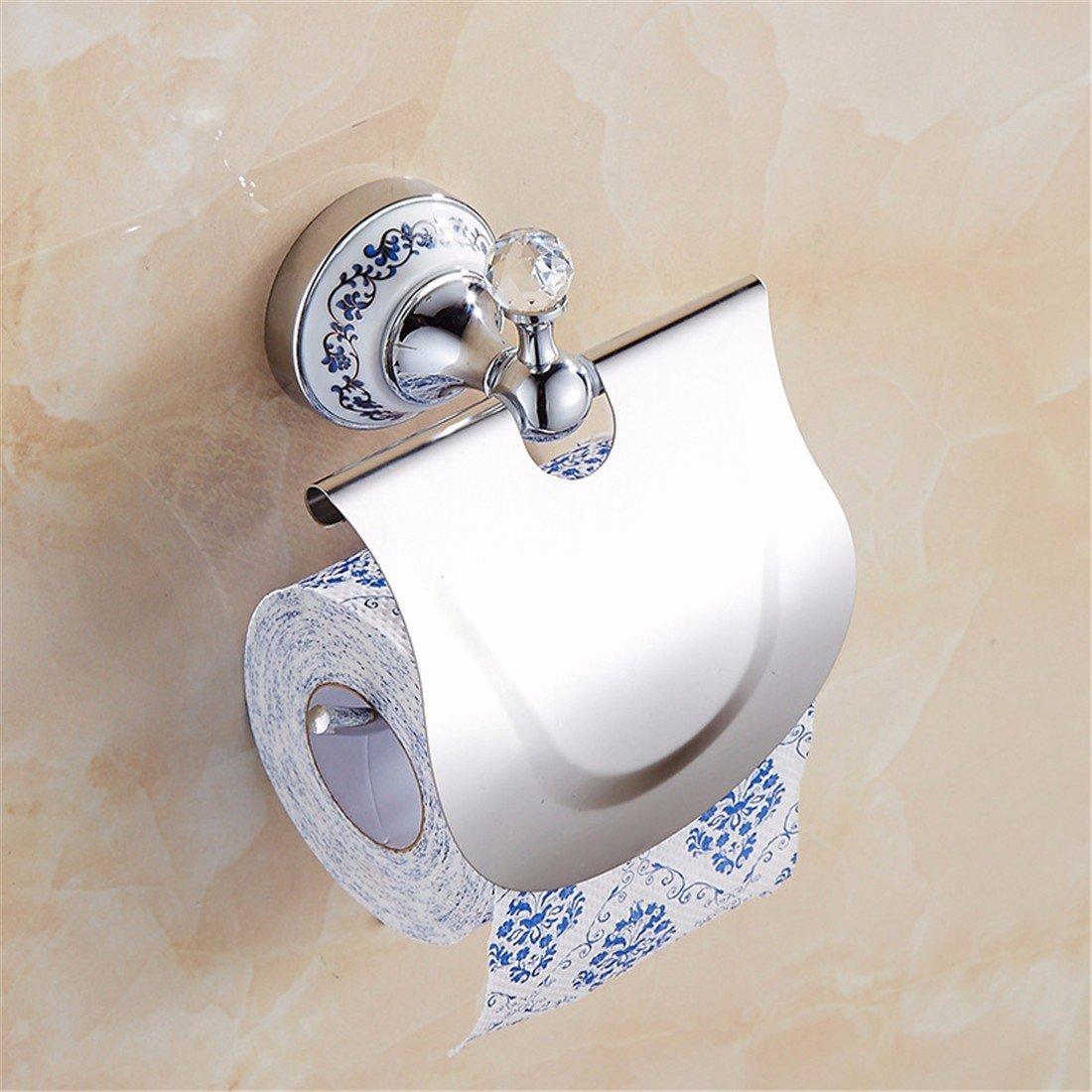 LAONA European style blue and white porcelain Crystal Silver, simple bathroom fittings, towel bar, toilet paper rack,Toilet paper holder