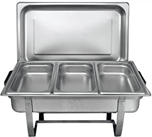 Chef Choice 8 Quart Full Size Stainless Steel Chafer 3 1/3rd Size Chafing Food Pans and Cool-Touch Plastic on top (1, Full Size with 1/3rd Inserts) (1)