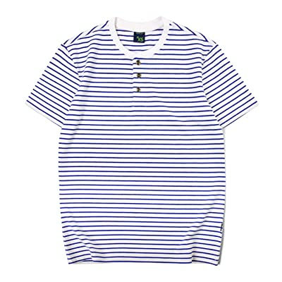Mens Striped Shirt Short Sleeve Henley Neck 3 Button T-Shirts at Men's Clothing store