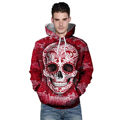3D Skull Print Hooded Sweatshirt,Pullover Hooded Sweatshirt For Male and Female Couple. (Red, S)