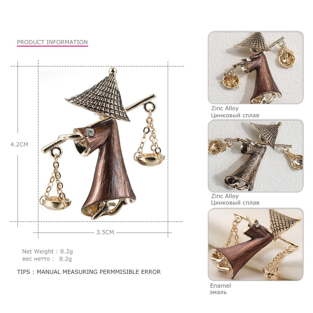 Cute Mr Hat Ancient Businessman Shape Brooches Jewelry Gold-Color Alloy Pins For Kids Women Clothes Clips Accessories CC18428B by MLXZ (Image #2)
