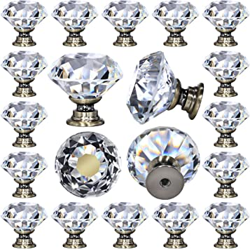 Cabinet Hardware Crystal Glass Knob Old Fashion Decorative Furniture Pull Crystal Drawer Knobs Chrome Finish Flower Glass Faceted Knob