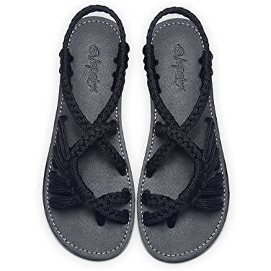 ad00a74befe Everelax Women s Flat Sandals Black 8B(M) US
