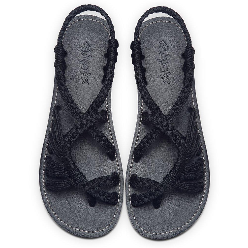 Everelax Women's Flat Sandals Black 11B(M) US