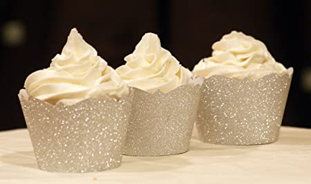 Silver Glitter Cupcake Wrappers All About Details X000QRKLX9