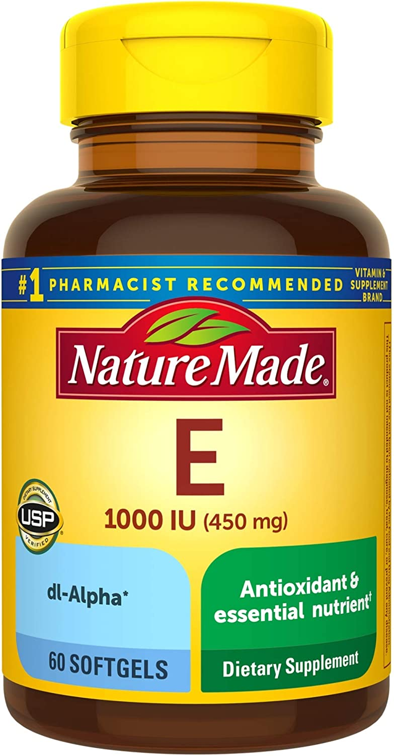 Nature Made Vitamin E 450 Mg 1000 Iu Dl Alpha Softgels 60 Count For Antioxidant Support Health Personal Care