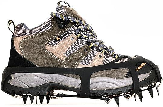 ValueHall Crampones universales 18 Dientes Acero Hielo Grips Antideslizante Nieve y Hielo tracción Tacos Zapato Cadenas Seguro protegen Zapatos