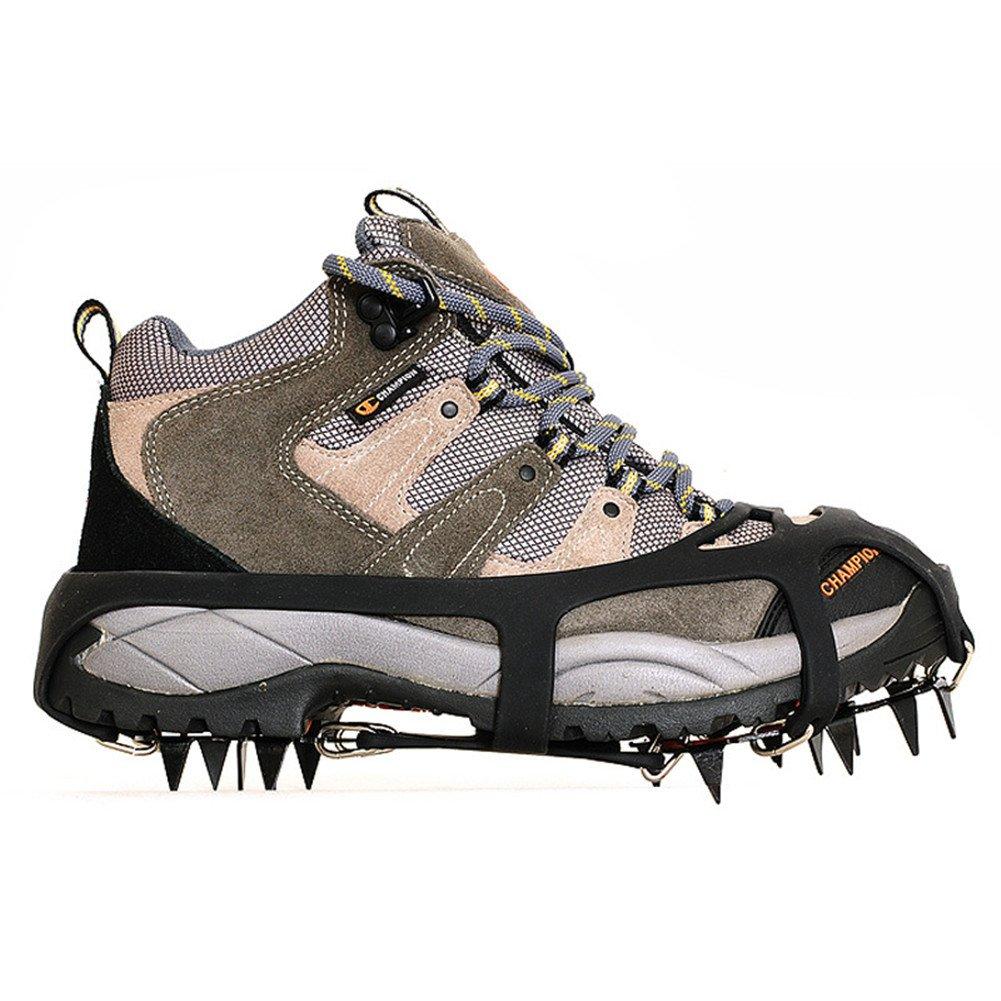 Kottle Crampons universelles 18 dents acier glace Grips anti-dérapant neige et glace Traction crampons chaussure chaînes coffre-fort protègent chaussures