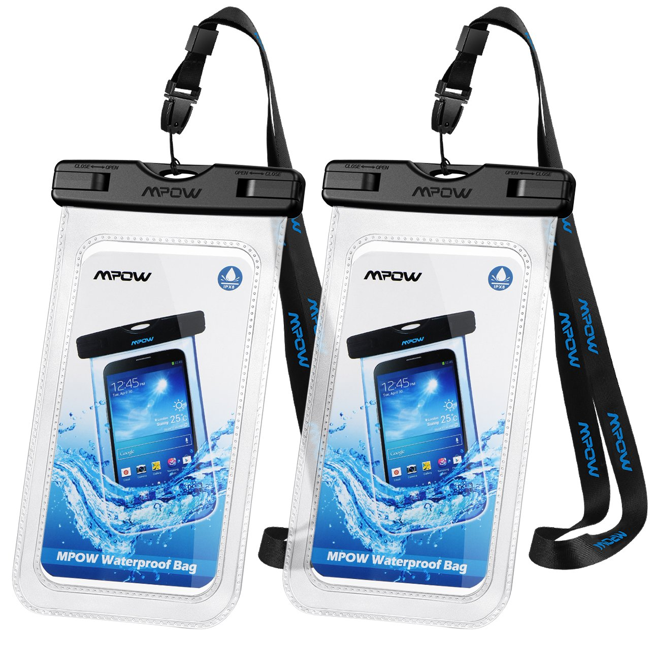 "Mpow Universal Waterproof Case, IPX8 Waterproof Phone Pouch Dry Bag Compatible for iPhone Xs Max/XS/XR/X/8/8P/7/7P Galaxy up to 6.0"", Protective Pouch for Pools Beach Kayaking Travel or Bath (2-Pack)"