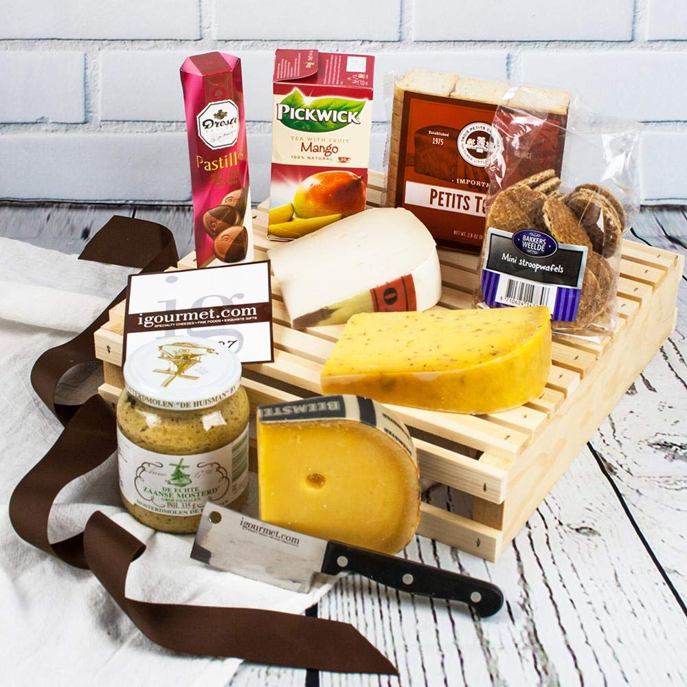 igourmet Dutch Classic Gourmet Gift Basket - Including the Netherlands' finest cheeses, sweets, and delicacies.