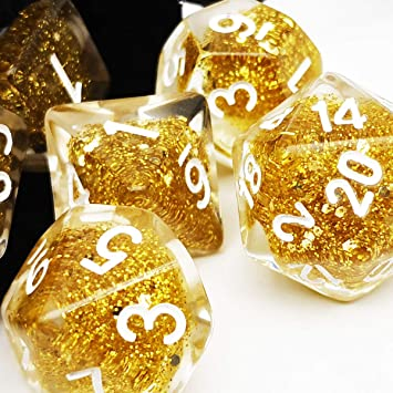 Haxtec DND Glitter Dice Set 7PCS Polyhedral Dice for