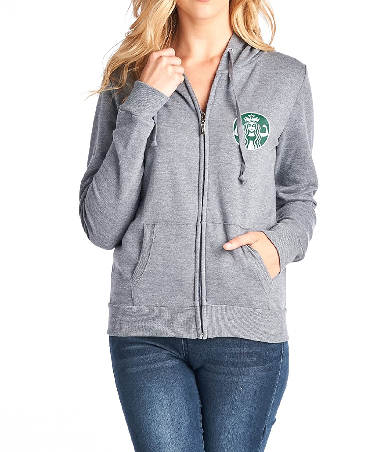 Tough Cookie's Women's Zipper Sweatshirt With Small Starbucks Parody Print Hood