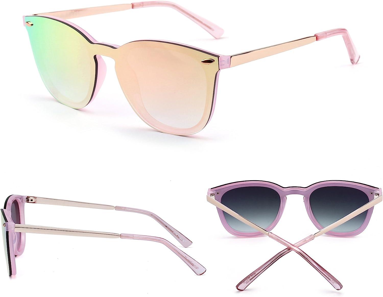 Rimless Mirrored Sunglasses One Piece Reflective Eyeglasses for Men Women