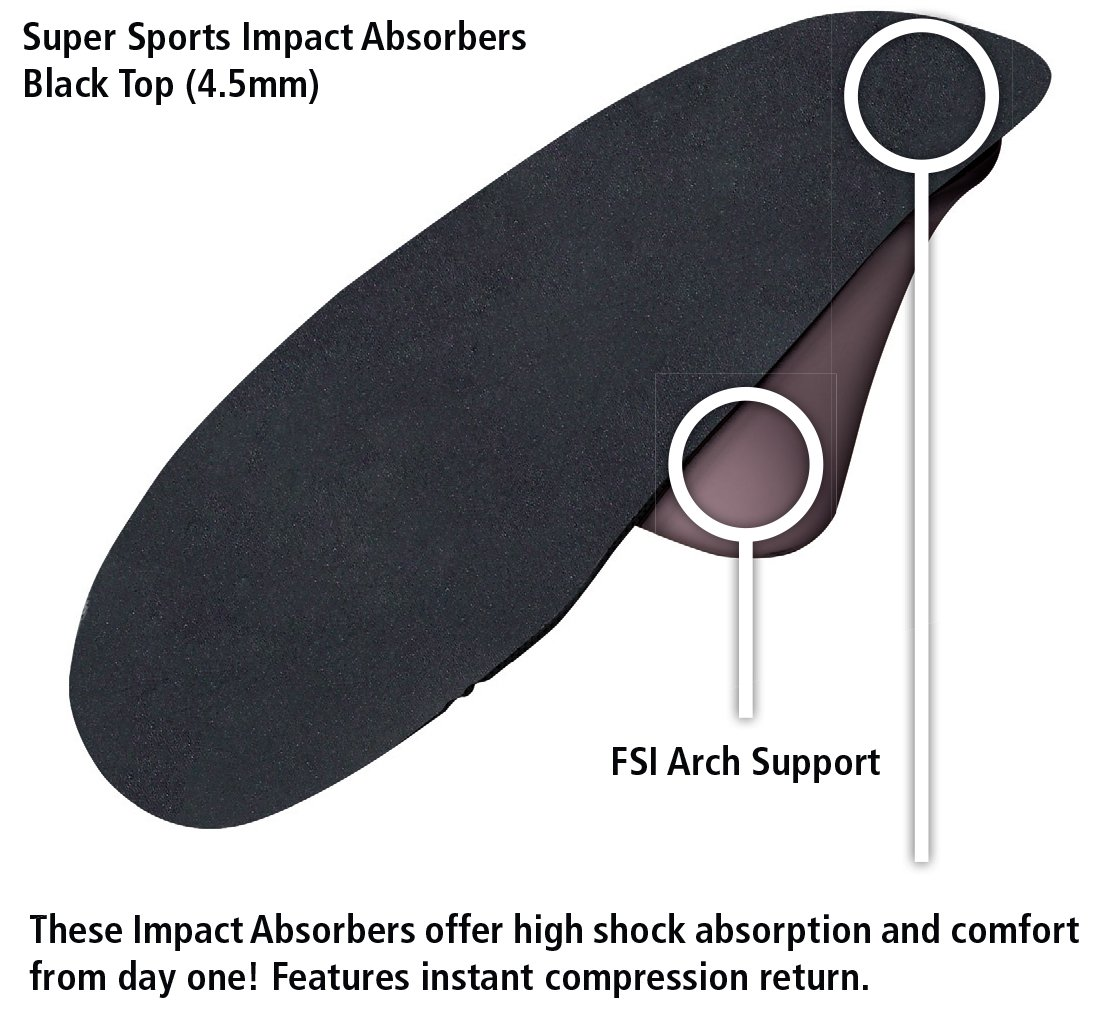 Travel Feet Super Sports Impact Absorbers Black Top (4.5mm)